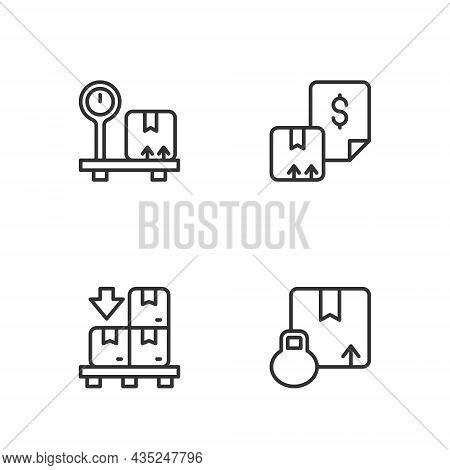 Set Line Carton Cardboard Box, Cardboard Boxes Pallet, Scale With And Waybill Icon. Vector