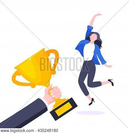 Happy Business Employee Award Winner Ceremony Flat Style Design Vector Illustration. Employee Recogn