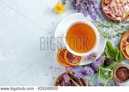 Tea Banner With Herbs, Flowers And Fruit, Top Shot With Copy Space. Healthy Organic Drink