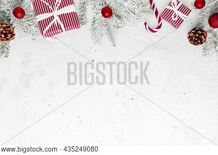 Christmas, New Year Gray Concrete Flat Lay With Red White Present Gift Boxes Top View. Gift Ribbon A