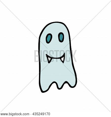 Doodle Halloween Smiling Ghost. Cartoon Character With Fangs Isolated On White Background. Hand-draw
