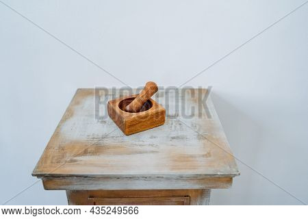 Wooden Stupa, Stupa For Grinding Grasses, Made By Hand