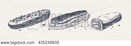 Eclairs With Glaze. Set Of Hand-drawn Sweets In Vintage Style. Cafe, Restaurant Menu Design Elements