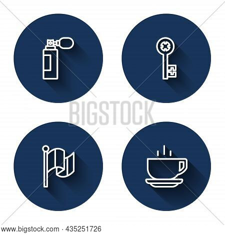 Set Line Perfume, Old Key, Flag Italy And Coffee Cup With Long Shadow. Blue Circle Button. Vector