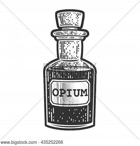 Opium Potion In Small Bottle Sketch Engraving Vector Illustration. T-shirt Apparel Print Design. Scr