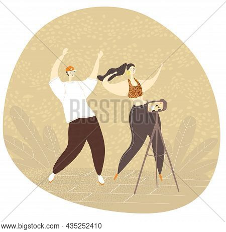 Dance Challenge. Modern Entertainment Of Young People On The Internet. Dancing In Front Of The Camer
