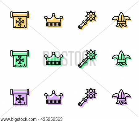 Set Line Mace With Spikes, Crusade, King Crown And Fleur Lys Or Lily Flower Icon. Vector
