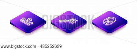 Set Isometric Line King Crown, Mace With Spikes And Medieval Helmet Icon. Vector