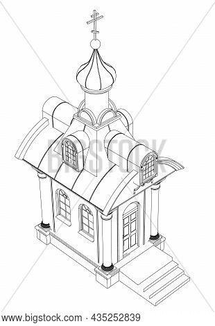 Chapel Contour From Black Lines Isolated On White Background. Isometric View. Vector Illustration