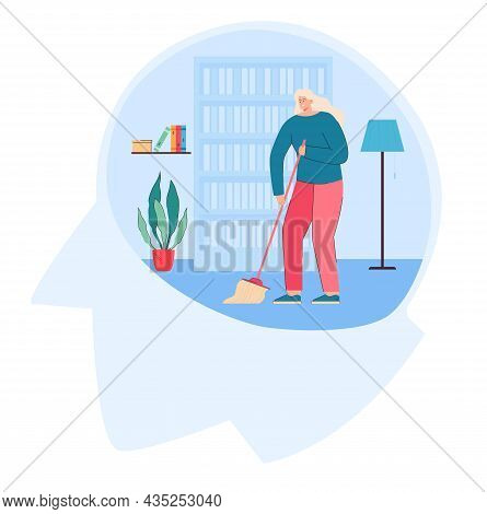 Woman Cleaning With Mop Inside Head Brain. Flat Vector Illustration Of Female Cleansing Mind. Psycho