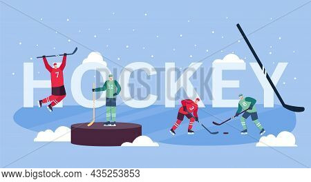 Flat Vector Illustration Of Men Playing Ice Hockey. Players In Sports Outfits On Ice Field. Hockey S