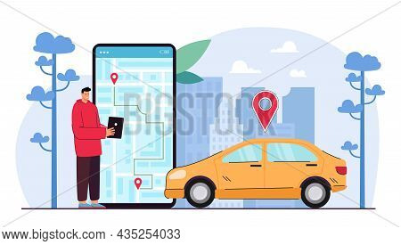 Man Tracking Taxi Driver Cab On Tablet Map. Guy Using Device For Car Location With Gps System App. M