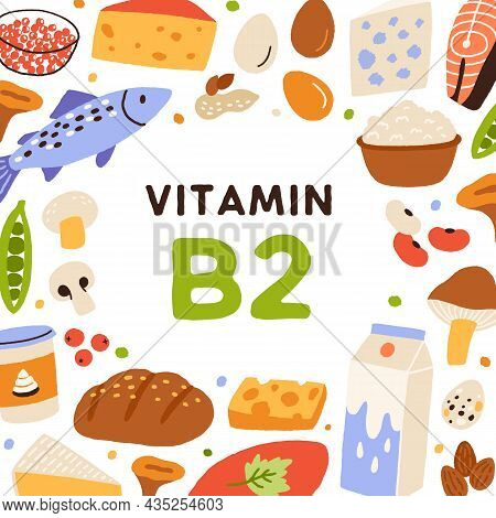 B2 Card, Vitamin-rich Food Frame. Natural Healthy Nutrition Enriched With Riboflavin. Milk, Curd, Ch