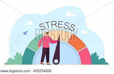 Tired Business Person Reducing Level Of Stress. Cartoon Character Pulling Arrow, Measure Of Stress A