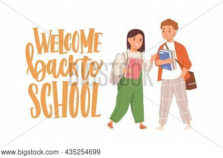 Happy Children With Books And Bags And Welcome Back To School Lettering. Junior Schoolkids Smiling.