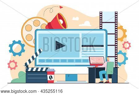 Male Cartoon Character Publishing Multimedia Content In Studio. Business Person Working On Visual Ef
