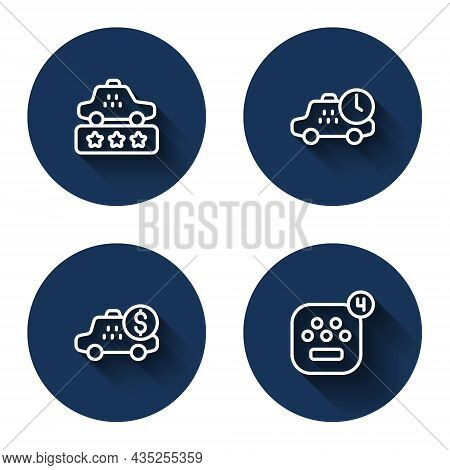 Set Line Taxi Service Rating, Waiting Time, Taximeter Device And Mobile App With Long Shadow. Blue C