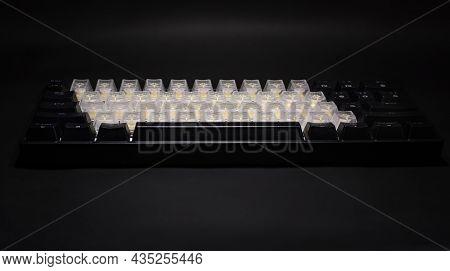 Gaming Rgb Led Backlit Keyboard On Black Background.