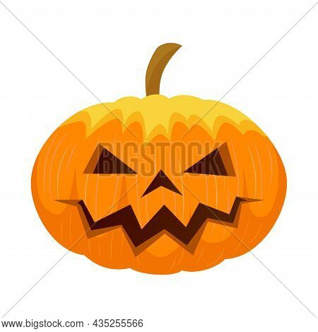 Halloween Pumpkin Carved Isolated. Vector Flat Illustration