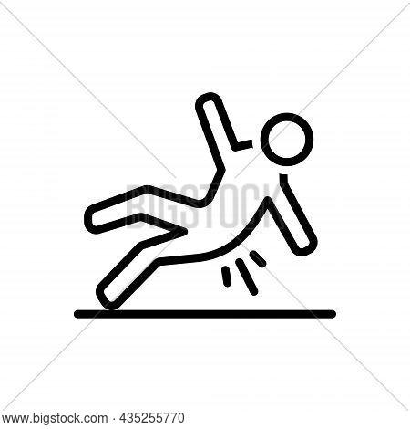 Black Line Icon For Slip Wet Fall Floor Slippy Skiddy Fall-down Slippery Caution