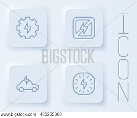Set Line Gear And Lightning, No, Electric Car And Lightning Bolt. White Square Button. Vector