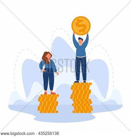 Man And Woman Standing On Different Stacks Of Gold Coins. Salary Gap Between Male And Female Employe