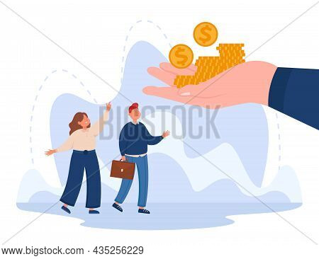 Hand Giving Gold Coins Of Salary To Corporate Office Workers. Happy Tiny Business People Receiving M