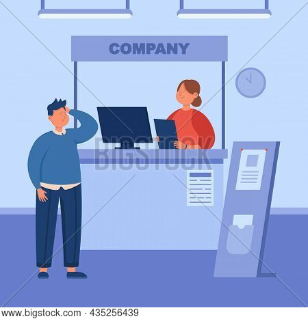 Male Visitor At Information Booth Of Expo Stand Exhibition. Man Standing At Company Counter, Adverti