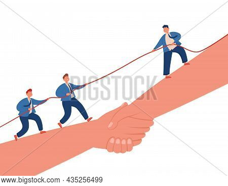 Team Of Business People Pulling Rope. Tiny Characters Competing, Standing On Hands Shaking Each Othe