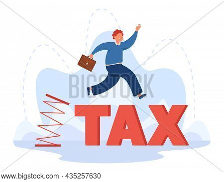 Businessman Jumping From Flexible Spring. Happy Entrepreneur Enjoying Opportunity Of Zero Tax Burden
