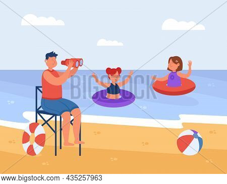 Beach Lifeguard Watching Swimming Children In Water. Male Guard Sitting On Lifeguard Tower, Rescuer