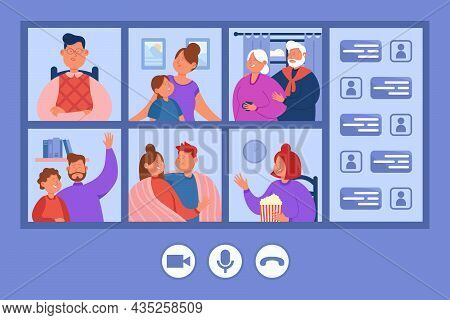 Family People Chatting And Meeting In Online Video Call. Virtual Conference Of Parents, Grandparents