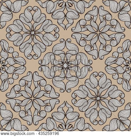 Ceramic Tile Seamless Pattern With Wave Line Curls. Mediterranean Porcelain Pottery.