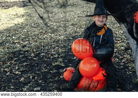 Halloween Kids. Cute Little Boy, Child Wearing A Witch Hat With Orange And Black Balloons And A Buck