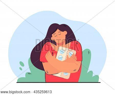 Smiling Girl Holding Hugging Pills Packaging. Happy Woman Feeling Optimistic Taking Antidepressant T