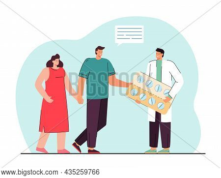 Doctor Giving Pills To Happy Couple Patients. Smiling Male Medical Specialist Prescribing Tablets Me