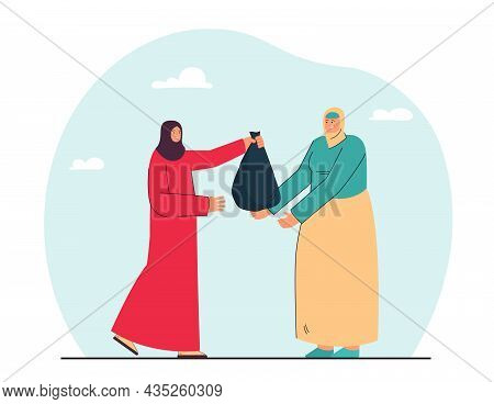 Muslim Women Giving Food Donation In Bag To Poor. Moslem Female Helping Person In Need With Money Or