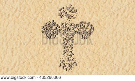 Concept conceptual stones on beach sand handmade symbol shape, golden sandy background, christian cross. A 3d illustration metaphor for God, Christ, religion, spirituality, prayer, Jesus belief