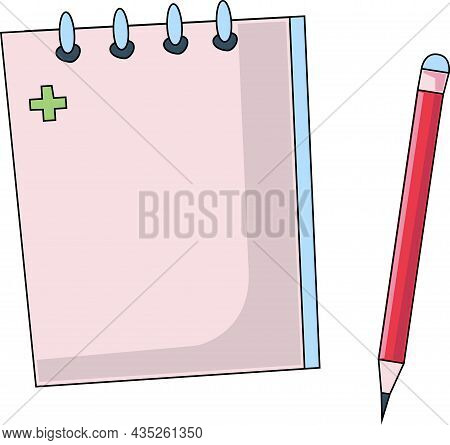 Notepad And Pencil, On A White Background.