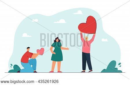 Female Cartoon Character Choosing Man Holding Bigger Heart. Girl Rejecting Male Character With Small