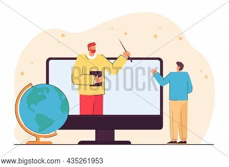 Professor Or Tutor On Computer Screen Giving Geography Lecture. Male Cartoon Student Greeting Teache