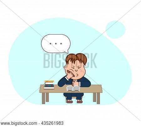 Bored Schoolboy In A Boring Class. Cartoon Vector Illustration.