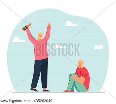 Drunk Husband With Bottle Shouting At Wife Sitting On Floor. Male Alcoholic Threatening Woman Flat V