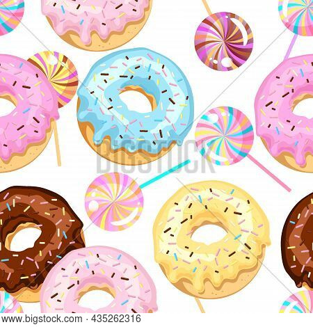 Seamless Pattern Of Colored Donuts With Sugar Glaze And Chocolate With Multi-colored Candy.