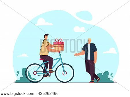 Cartoon Man On Bicycle Delivering Gift To Customer Or Boyfriend. Male Character Giving Gift Box To G