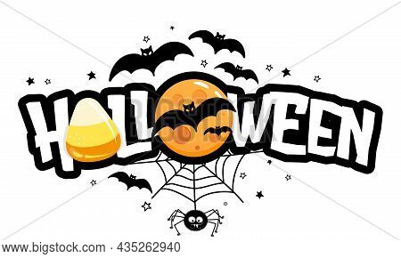 Halloween - Halloween Quote On White Background With A Cute Hanging Spider, Candy Corn And Yellow Fu