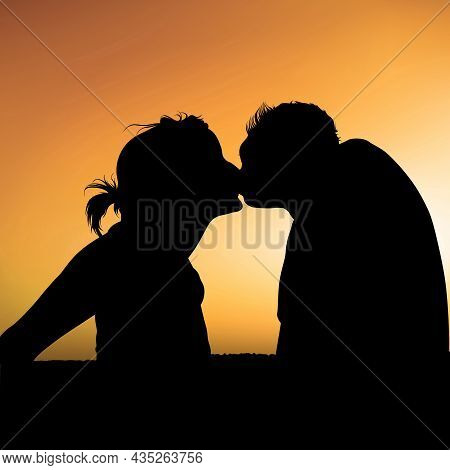 Evening Kiss - Colored Background Illustration With Silhouetted Couple At Sunset, Vector