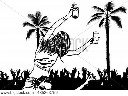 Tropical Dance Party - Black And White Dancing People As Background Illustration, Vector