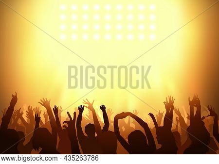 Crowd Dancing On A Concert With Holding Their Arms Up Under Orange Lighting - Background Illustratio