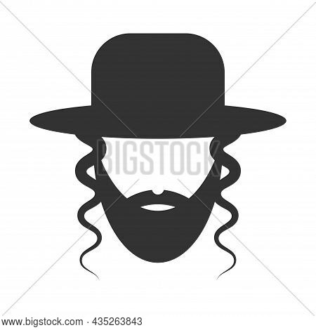 Rabbi Icon In Trendy Design Style. Icon Of A Jew With A Beard, Glasses And A Hat. Rabbi Vector Icon